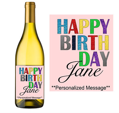 Happy Birthday Wine Label Sticker Personalized Customized Party Gift Favor Decor