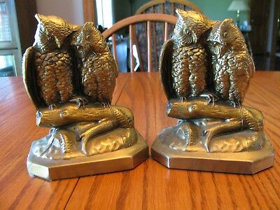 Philadelphia Manufacturing Co. PMC Brass Owl Bookends Made in the USA w/ Label
