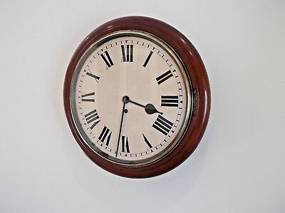Large 14 Inch Diameter Chain Fusee Dial Clock In Excellent Order, Mahogany Cas