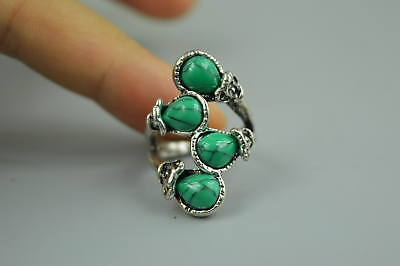 Collectible Decor Chinese Tibet Silver Carve Flower Inlay Turquoise Woman Ring
