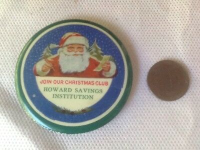 Grapic Colorful Santa Claus Advertising Celluloid Pocket Mirror- Rare