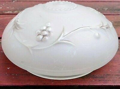 Vintage clear frosted Glass Globe Ceiling Light Fixture Shade grape vine pattern