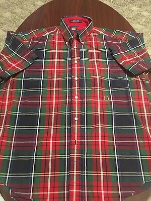 5097d6f6 Vintage Tommy Hilfiger Plaid Checkered Short Sleeve Mens Button Down Shirt  Large