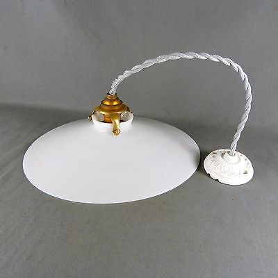 Vintage French Unruffled Opaline Milk Glass Ceiling Shade, w/Hardware, Ø 10""