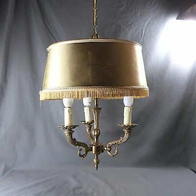 French Vintage 3 Lights Chandelier Ornate Bronze with Large Lampshade Antique