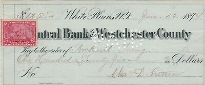 1899 CENTRAL BANK of WESTCHESTER COUNTY, WHITE PLAINS. NEW YORK  REVENUE STAMP