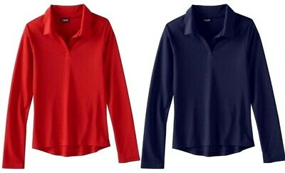 Chaps Girls School Long Sleeve Performance Shirt NWT 7  8/10 or 12/14  Red  Navy