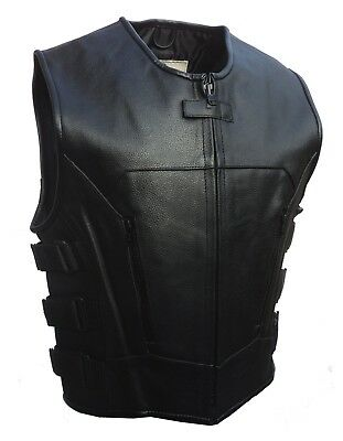 Mens Motorcycle SWAT Style Tectical Leather Waistcoat Vest