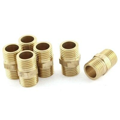 3X(Pipe 1/4 BSP to 1/4 BSP Male Thread Brass Hex Nipple Fitting 6 Pcs D2G9)