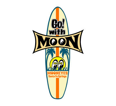Mooneyes Surfboard Aufkleber Tiki Go With MOON Hawai Woodie Surf Hot Rodding Bug