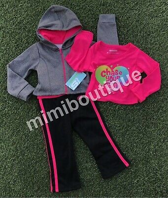 """Skechers Baby Girls Size 18 Months /""""Chase Your Dreams/"""" 3-Piece Sweatsuit Multi"""