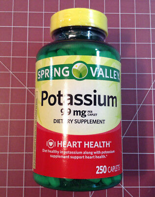 Potassium Caplets - 99 mg - 250 Ct - Exp- 10/20 - Spring Valley