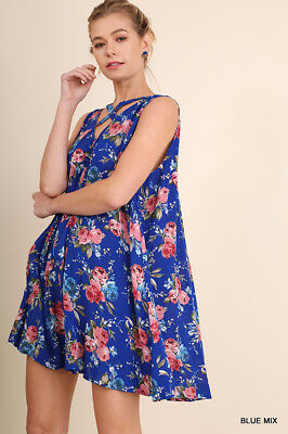 19c8ed57c5 XL UMGEE BLUE Floral Criss Cross Front Keyhole back Swing Dress/Tunic SASSY  SKY