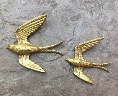 2 Vintage BURWOOD Hollywood Regency Gold Swallow Birds Wall Hanging Plaques 2682