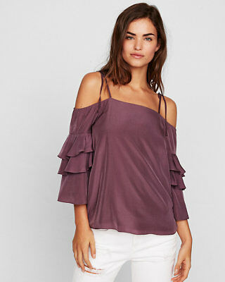 Express Purple Dream Tiered Sleeve Cold Shoulder Blouse/top/shirt Nwt - Sz M