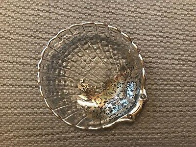 VINTAGE FLORAL SILVER OVERLAY CLEAR GLASS SCALLOP SHELL DECORATIVE DISH 1960s