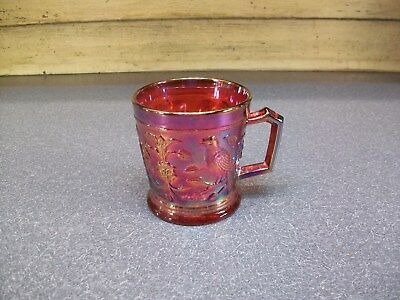 Red Carnival Glass Mug Cup Ig Imperial Glass 1967 Acga Club  Robin