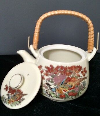 Vintage Kutani Japan Teapot Hand Painted Peacock Flowering Tree Bamboo Handle
