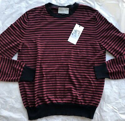 3712c7d70 Gucci Striped Fine Cotton Cashmere Wool Blue Burgundy Light Sweater Large  Italy