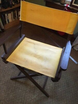 Directors Chair Folding Yellow Canvas Vintage Used Wood