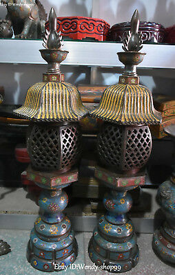 "34"" Old Cloisonne Enamel Gilt Ancient Tower pagoda Flower Oil lamp Statue Pair"