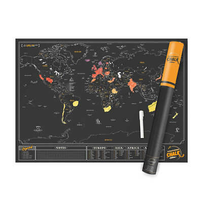 Luckies Large Premium Chalk Scratch Map: Scratch Off World Map - 100% Genuine