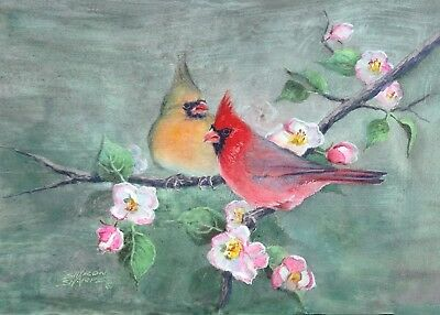 ACEO CARDINALS & APPLE BLOSSOMS by Sharon Sharpe!!!