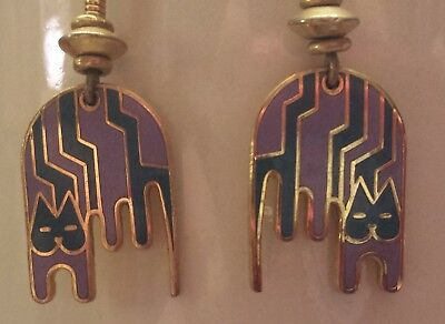 Dangle Laurel Burch Earrings ~ Greenish Blue & Light Purple Striped Cats ~Signed