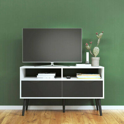 OSLO Small TV Stand with 2 Drawers Modern Retro Style Vinatge white/black