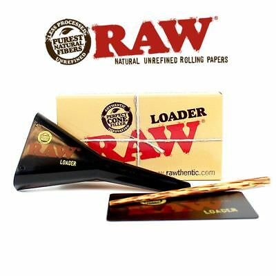 Raw Cone Loader Paper Cone Filler Tool with Wooden Poker + 32 RAW KINGSIZE CONES