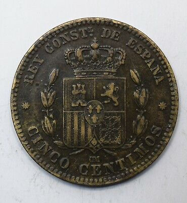 1877 Spain Five 5 Centimos - Alfonso XII - gVF - Lot 17
