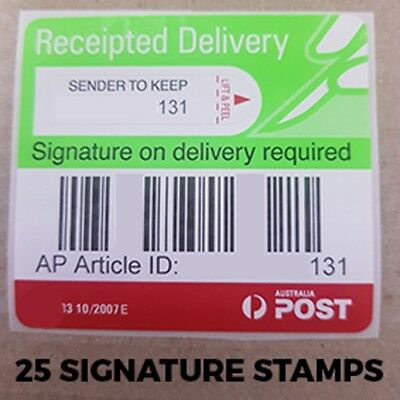 25 Australia Post Receipted Delivery Label Tracking Signature Registered Auspost