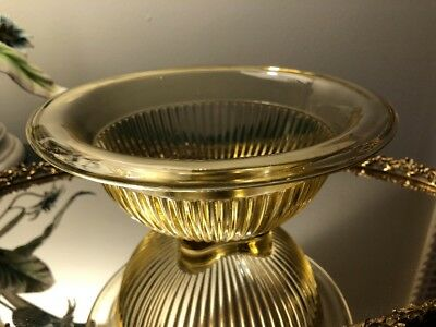 """Federal Glass Yellow Mixing Bowl Flared Rim Ribbed 7 3/4"""" Depression Glass"""