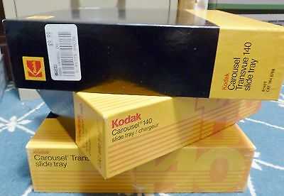 Kodak carousel slide trays 140 slides per tray in box (3 trays) EXCELLENT COND.