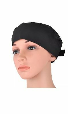 Professional Chef Hat with mesh net on top-Adjustable and unisex- BLACK