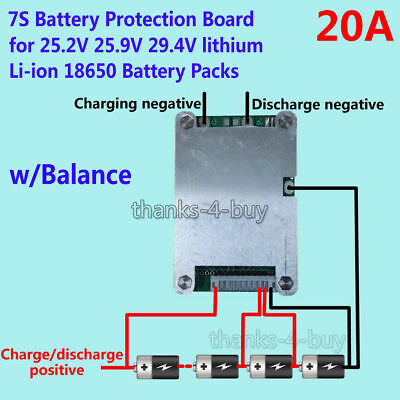 7S 24V 20A BMS Protection Board w/ Balance for 18650 Li-ion Lithium Battery Cell