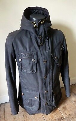 "Superb Barbour International "" Fog Wax "" Parka Jacket - Small - Vgc Cost £295"