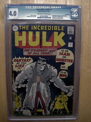 THE INCREDIBLE HULK #1 CGC 4.0 FIRST 1st APPEARANCE OF THE HULK 1962