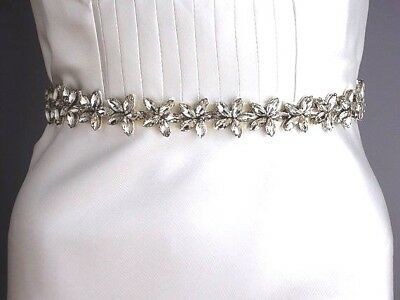 Sale-Crystal embellished wedding sash belt,Floral crystal ribbon belt,Rhinestone