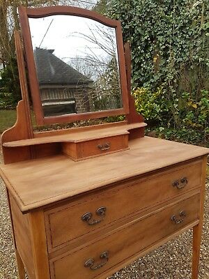 Edwardian Wooden Dressing Table with original mirror and drawers