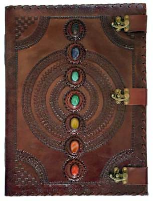 """Leather Embossed Chakra Journal - 13.5""""x18"""""""