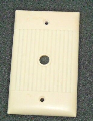 Vintage Bakelite Ivory Color SIERRA Round Cable Ribbed Outlet Wall Plate Cover