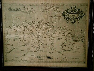 GENUINE 400 YEAR OLD  ANTIQUE MAP OF NORTH AFRICA with SEA MONSTERS