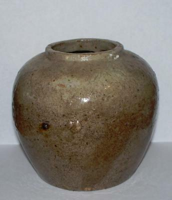 Vintage Antique Chinese Tan/Sand Nautral Glaze Stoneware Pottery Jar