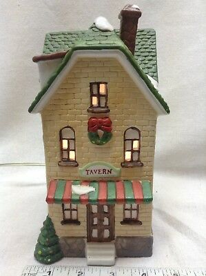Vintage Christmas Village Building Lighted Tavern Dickens Collectables Porcelain
