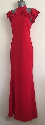 Ex ASOS Red High Neck Cold Shoulders Ruffle Detail Evening Maxi Dress Size 8-16