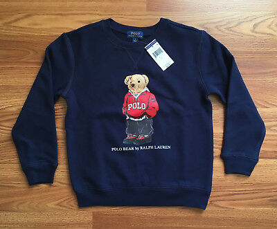 $55 NWT Polo Ralph Lauren Boys Kids Navy Blue Bear Sweatshirt LIMITED EDITION