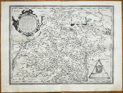 ORTELIUS Original Map Moravia Brno Czech Rep.  - 1573