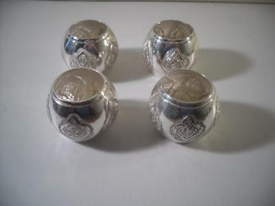 A Set of Four Antique Middle Eastern Silver Napkin Rings : c1890