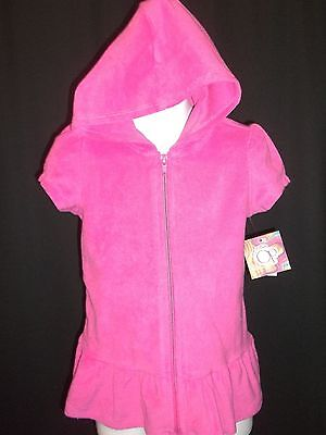 OP Pink Terry Swim Cover Up Beach Size 24 Months Girls Zippered Hooded Cloth